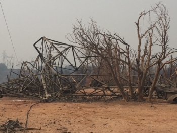 Picture of transmission tower brought down by the fire
