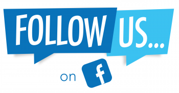 "Graphic with the words ""Follow us on"" and the Facebook logo."