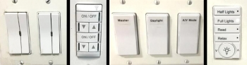 Four photos of various connected lighting system wall switches.