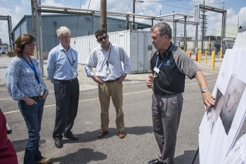 EM Assistant Secretary Anne White, Savannah River Site Manager Mike Budney, and EM Senior Advisor Taylor Playforth listen to an overview on H Canyon from Jimmy Winkler of Savannah River Nuclear Solutions, the site's management and operations contractor.