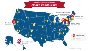 A U.S. map showing the locations in red of the states that have Power Connector organizations.