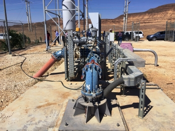 IAEA tour of 325 km (202 mi) Disi-Mudawarra to Amman Water Conveyance System, a first of 55 production wells constructed 530 m (1740 ft) deep, completed in 2012 at a cost of over $1 billion. Groundwater contains naturally occurring radioactivity.