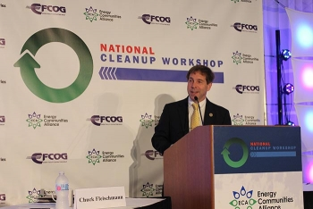 Rep. Chuck Fleischmann of Tennessee gives insights from the House Nuclear Cleanup Caucus leadership during an address at this year's National Cleanup Workshop. Fleischmann is chair of the caucus.