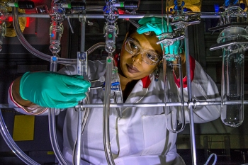 Jasmine Hatcher's work in Brookhaven's Medical Isotope Research and Production Program focuses on extracting Actinium 225, a rare radioactive element that can be used in cancer radiation therapy.