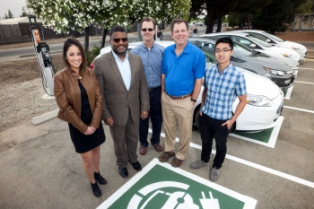"""Lawrence Livermore National Laboratory's """"Fleet of Sedans Goes Electric""""  Innovative Approach to Sustainability Award Honorable Mention winners Jessica Copeman, Hanif Nassor-Covington, Al Moser, Stu Jossey, and Scott Chau"""