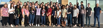 WRPS summer interns assemble during their Hanford Site tour in June. The group visited the Cold Test Facility, a test site for new & innovative technologies used to safely remove radioactive & chemical waste from Hanford's 177 underground storage tanks.