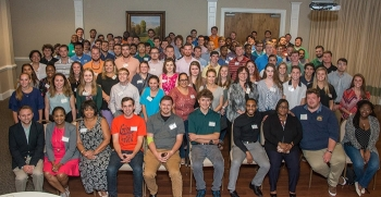 Savannah River Nuclear Solutions interns gather for a photo during a reception this summer where they talked with Savannah River Site executives and other site employees.