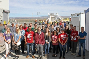 Interns from Richland Operations Office cleanup contractor CH2M Hill Plateau Remediation Company visit the K Basin Sludge Removal Project at the K West reactor in June.