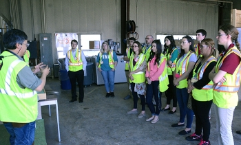 Fluor-BWXT Portsmouth (FBP) welcomed new college interns this summer with a site tour. FBP's Dr. J.D. Chiou, left, provides an overview of the OnSite Waste Disposal Facility under construction at the Portsmouth Site.