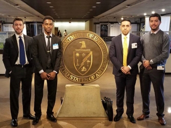 Florida International University DOE Fellows at DOE headquarters in Washington, D.C., left to right, Michael DiBono, Christopher Excellent, Joshua Nunez, and Juan Morales.