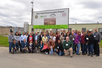 Members of the State and Tribal Government Working Group and DOE representatives tour the West Valley site.
