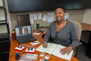 Along with scientists at Brookhaven's Nuclear Science and Technology Department, Trishelle Copeland-Johnson is researching ways to improve materials that can prevent potential disasters at nuclear reactors.