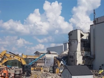 After photo of the Vitrification Facility demolition at the West Valley Demonstration Project Site.