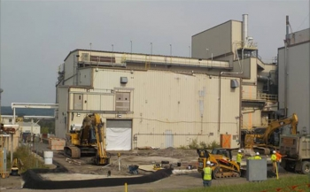 Before photo of the Vitrification Facility demolition at the West Valley Demonstration Project Site.