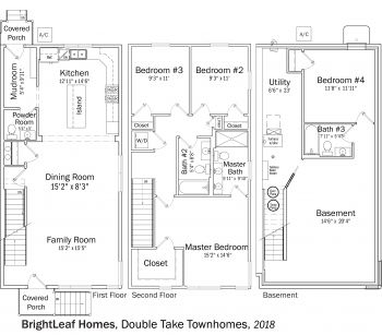 DOE Tour of Zero: Double Take Townhomes by BrightLeaf Homes floorplans.