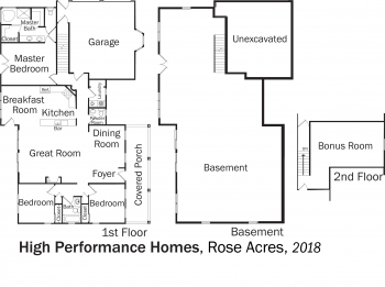 DOE Tour of Zero: Rose Acres by High Performance Homes floorplans.
