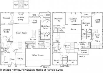 DOE Tour of Zero: ReNEWable Home at Parkside by Meritage Homes floorplans.