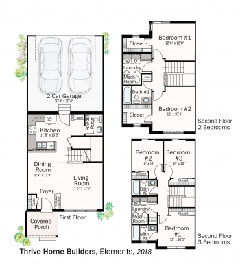 DOE Tour of Zero: Elements Collection by Thrive Home Builders / New Town floorplans.