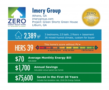 DOE Tour of Zero: Green Shortz Green House by Imery Group: 2,389 square feet, HERS 39, $70 monthly energy bill, $1,700 annual savings, $75,600 saved in 30 years.