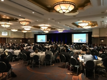 Picture of the Sheraton Pentagon City ballroom at the Grid Modernization Initiative Peer Review.