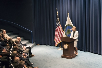 NNSA Administrator Lisa E. Gordon-Hagerty addressing the crowd at the RAP 60 event.