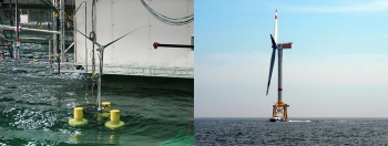 Collage of two offshore wind turbines.