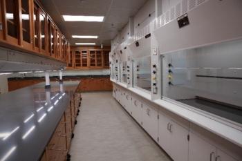 A refurbished radiochemistry laboratory at Lawrence Livermore National Laboratory.