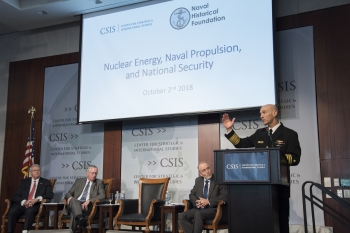 Naval Nuclear Propulsion Program Director Adm. James Frank Caldwell Jr. addresses crowd at the Center for Strategic & International Studies.