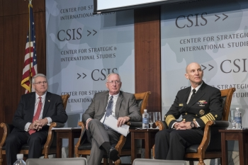 Panelists Capt. William Ostendorff (Ret.), Michael Wallace, and Adm. James Frank Caldwell Jr. at the Center for Strategic & International Studies.