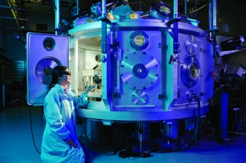 A physicist works with the Titan laser at Lawrence Livermore National Laboratory's Jupiter Laser Facility.