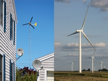 A two-image collage with a small wind turbine outside a residential house (left) and a utility-scale turbine in a field (right).