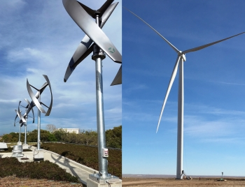 Photo of a vertical-axis turbine (left), and a horizontal-axis turbine (right).