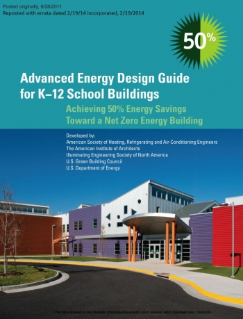 Cover image of Advanced Energy Design Guide for K-12 School Buildings, which shows the front of a school with blue skies in the background.