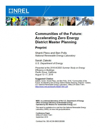 Image of the cover of Communities of the Future: Accelerating Zero Energy District Master Planning