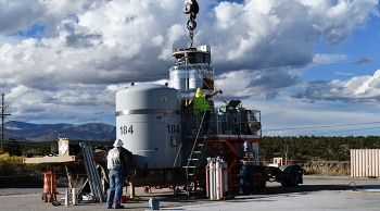 Newport News Nuclear BWXT-Los Alamos waste management staff prepare the waste shipment for transport to the Waste Isolation Pilot Plant.