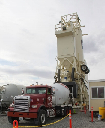 A mobile batch plant near PUREX Plant Tunnel 2 will mix approximately 43,000 cubic yards of grout to stabilize the tunnel.
