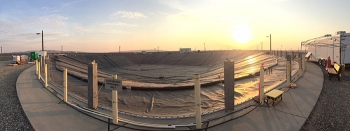 Crews recently installed a new cover for a Liquid Effluent Retention Facility basin at the Hanford Site.