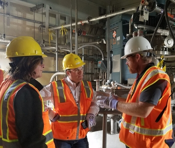 Tom Fletcher, EM ORP Assistant Manager & Federal Project Director, WTP Project, gave a walking tour of the WTP to Anne White, EM Assistant Secretary, & Jim Herz, Office of Management & Budget Associate Director of Natural Resources, Energy & Science.