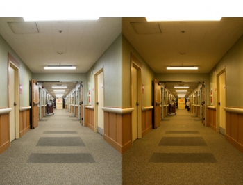 side by side images the inside of a care center with different lighting.