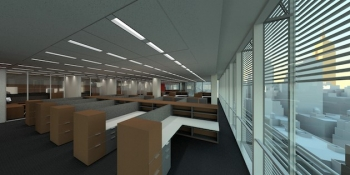 Photo of an interior office space inside the New York Times building.