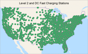 Map of the United States showing areas where Level 2 and DC Fast Charging Stations are located.