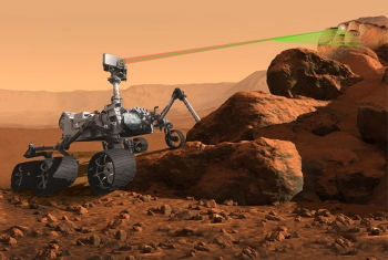 An artist's rendition of the ChemCam instrument using laser-induced breakdown spectroscopy on Mars.