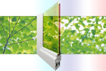 An artist's rendition of double-pane quantum dot solar windows from Los Alamos National Laboratory.