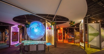 Interactive map of Oak Ridge and five exhibit areas in the new American Museum of Science and Energy facility.
