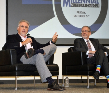 UCOR President and CEO Ken Rueter and Oak Ridge Office of EM Manager Jay Mullis speak during the Millennial Nuclear Caucus.
