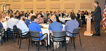 DOE's Ed McGinnis addresses attendees at the Millennial Nuclear Caucus in Oak Ridge.