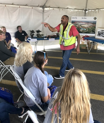 EM contractor Fluor-BWXT's Marc Hill delivers a demonstration of site history at the recent Science Alliance event at the Portsmouth Gaseous Diffusion Plant site.