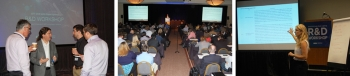 a grouping of photos showing people at a conference.