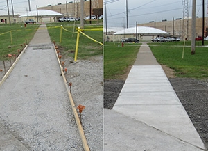 A before-and-after view of a repaired sidewalk location.