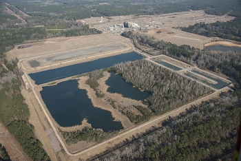 Before photo of the Savannah River Site ash basin cleanup project.